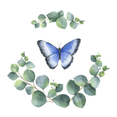 Watercolor vector wreath with green eucalyptus leaves and butterfly.