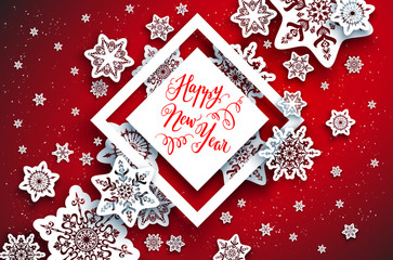 Red festive snowflakes background-01
