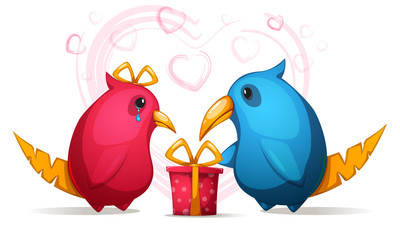 Two cartoon funny, cute bird with a large beak. Gift for girl.