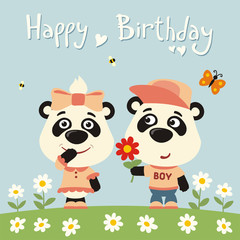 Happy birthday! Greeting card: funny panda boy gives flower to panda girl for birthday.