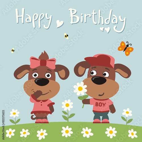 Happy Birthday Greeting Card Funny Puppy Dog Boy Gives Flower To Girl For