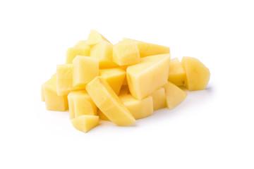 Chopped potato isolated on a white background