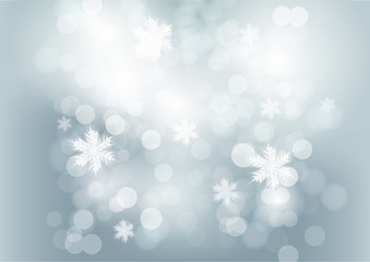 Shimmering Christmas Background with lights and snowflakes falling. Vector