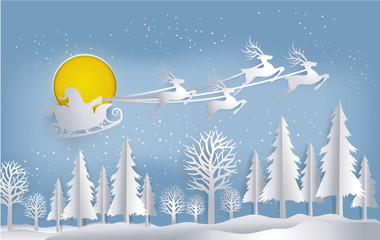 Merry Christmas of Santa Claus and reindeer flying over the Winter Christmas Night background, paper art vector and illustration.