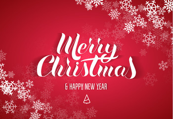 """Lettering in the popular style of """"Merry Christmas & Happy New Year"""". White paper letters with a shadow on a red background. snowflake frame on the corners"""