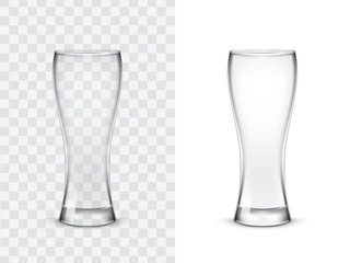 Realistic drinking glasses, vector illustration isolated on white and transparent background. Mock up, template of glassware for alcoholic and non-alcoholic drinks