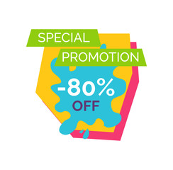 Special Promotion -80 Label Vector Illustration