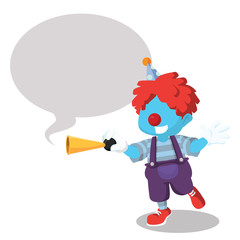 Blue clown honking with callout– stock illustration