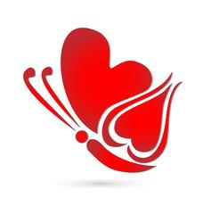 Red butterfly heart shape symbol
