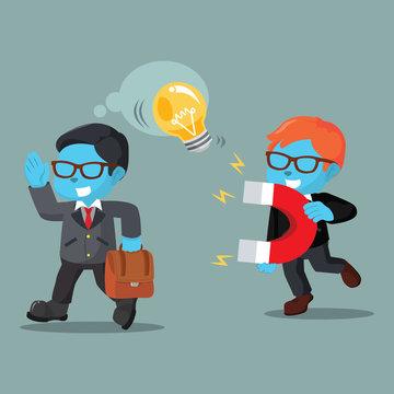 Blue businessman stealing other businessman bulb'– stock illustration
