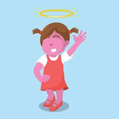 Pink girl with angel– stock illustration