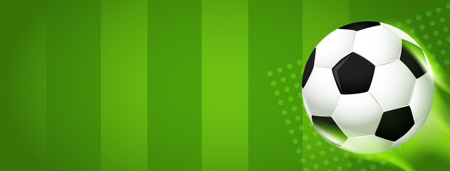 Soccer banner Vector illustration. football ball on soccer field background with copy space.