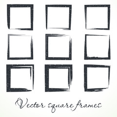 vector image of square frames. brush strokes.