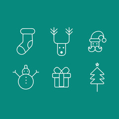 Christmas Icons with blue Background