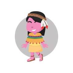 Pink girl using indian costume– stock illustration