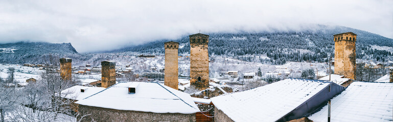 Panoramic view on Medieval towers in Mestia in the Caucasus Mountains, Upper Svaneti, Georgia.