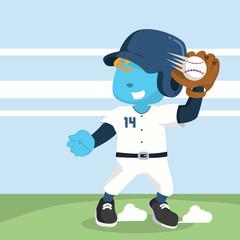 Blue baseball player catching ball– stock illustration
