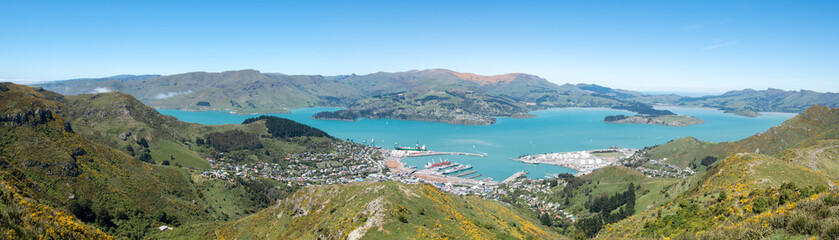 Panoramic view to Lyttelton harbour and port
