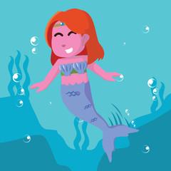 Pink mermaid girl in sea– stock illustration