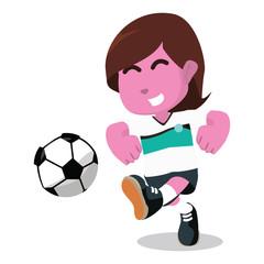 Pink female soccer player shooting ball– stock illustration