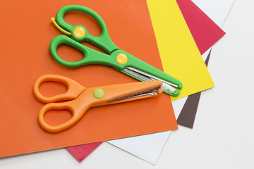 Safe scissors and colored paper