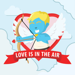 Blue cupid boy in emblem colorful– stock illustration