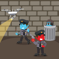 Group of police looking for thief– stock illustration