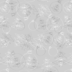 Christmas background with Christmas decorations., seamless tiling, great choice for wrapping paper pattern. Hand drawn.