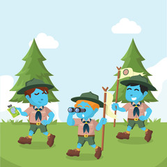 Group of blue boyscout walking in forest– stock illustration