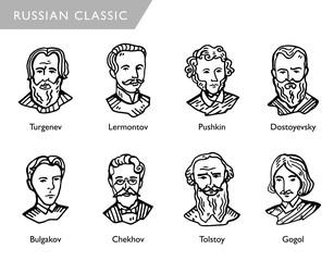 famous russian writers, vector portraits, Turgenev, Lermontov, Pushkin, Dostoyevsky, Bulgakov, Chekhov, Tolstoy, Gogol