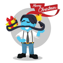 Blue mustache man holding christmas present and bell– stock illustration