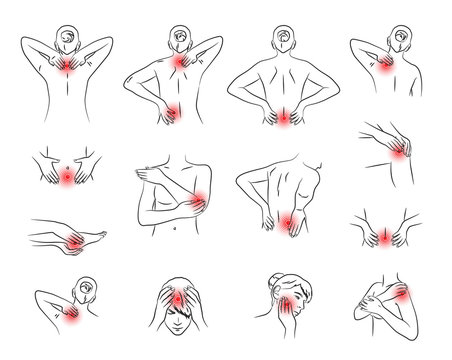pain vector set, woman body parts