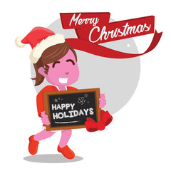 Pink girl holding happy holiday sign– stock illustration