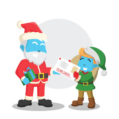 Christmas elf giving letter to santa– stock illustration