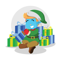 Christmas elf stamping presents– stock illustration