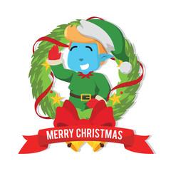 Christmas elf inside christmas– stock illustration