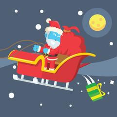 Blue santa dropping christmas presents– stock illustration