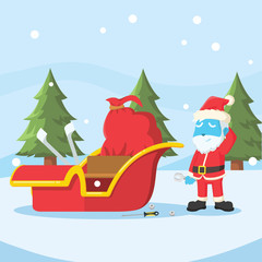 Blue santa repairing his sleigh– stock illustration
