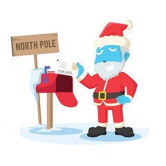 Blue santa receiving letter– stock illustration