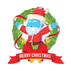Blue santa inside christmas wreath– stock illustration