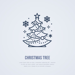 Christmas tree, new year pine flat line icon. Winter holidays vector illustration, sign for celebration party.