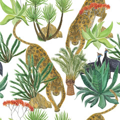 Watercolor painting seamless pattern with leopard and tropical plants