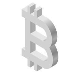 Bitcoin mark in isometric perspective. Modern symbol, cryptocurrency in minimalist gray stylization. Graphic icon of virtual digital currency, internet investing. Cloud mining brand, electronic money