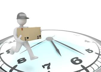 3d Männchen als Paketbote auf einer großen Uhr
