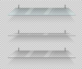 Transparent glass shelves