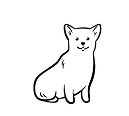 Vector outline sitting corgi.