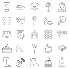 Female icons set, outline style