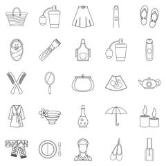 Feminine icons set, outline style