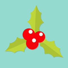 Holly berry icon. Mistletoe. Green leaf Three red berries. Merry Christmas symbol. Flat design. Blue background. Isolated.