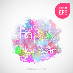Vector Happy New Year Text with Lettering Card on Colorful Brush Background. Flat Vector Illustration Great for Any Use.
